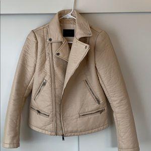 Zara tan faux leather jacket